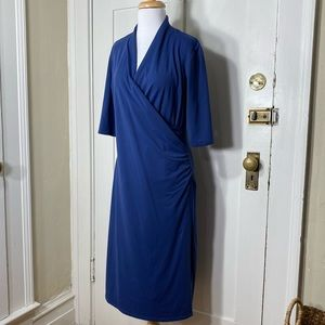 Travelsmith Blue Ruched Side Comfort Stretch Dress